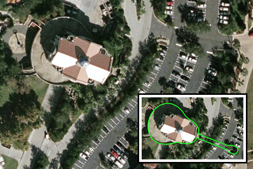Google Maps aerial view looking down on the old cafe building