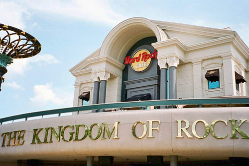 Gold letters on the Hard Rock proclaiming KINGDOM OF ROCK!