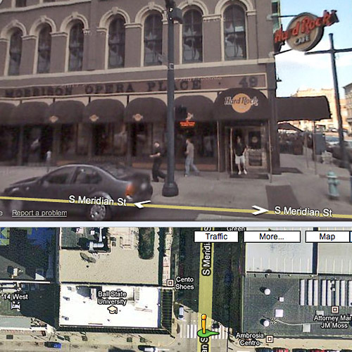 Verifying Hard Rock locations with Street View.